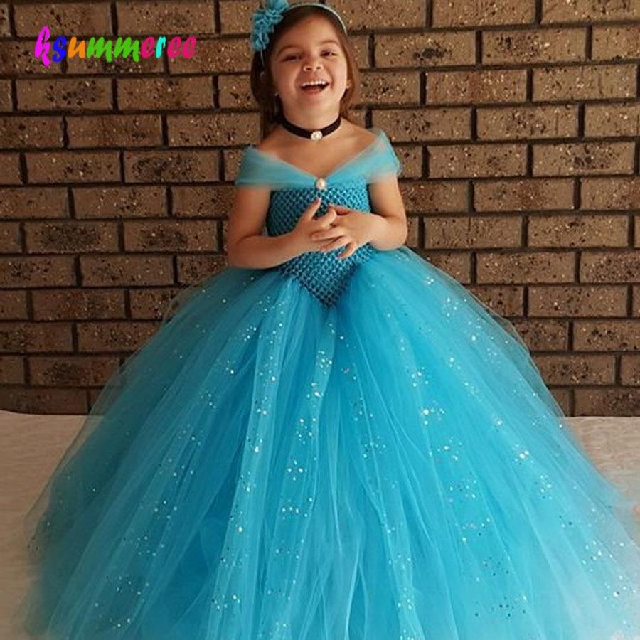 Girls Blue Glitter Princess Tutu Dress Elsa Inspired Kids Rhinestone Wedding TUTU Ball Gown Children Prom Birthday Party Dress