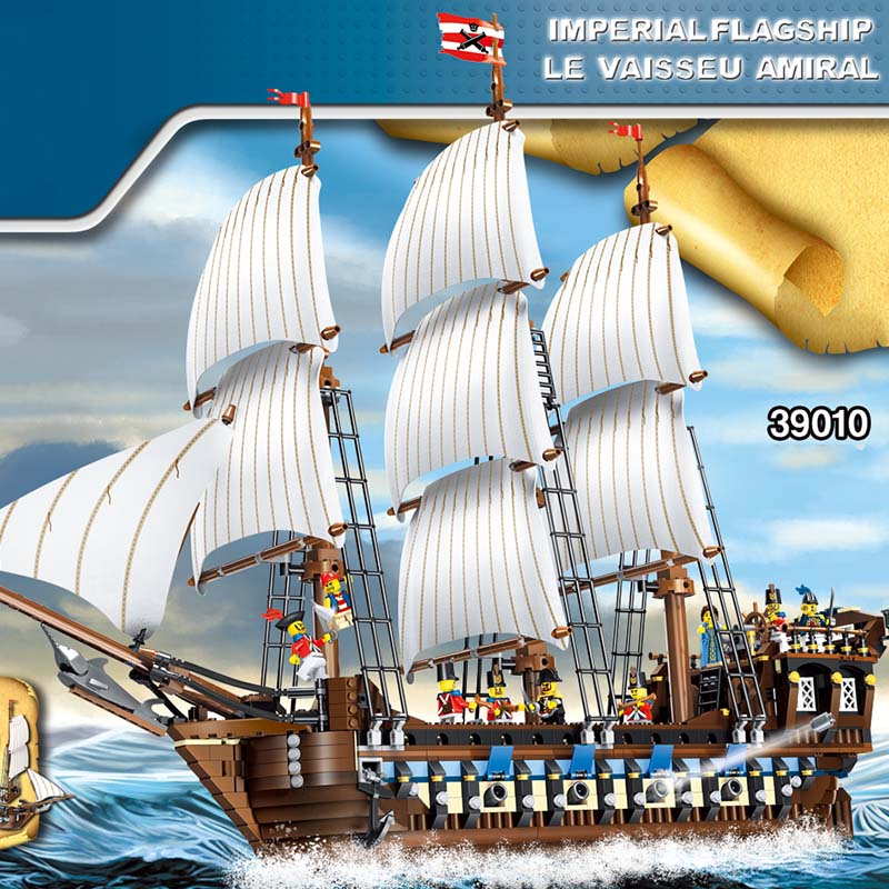 1779pcs Large Building Blocks Sets Pirate Ship Imperial Warships Compatible legoINGLY Caribbean Pirate Ship Toys for Children red pirate ship blocks compatible legoingly war pirate king character action diy bricks cannon building blocks toys for children