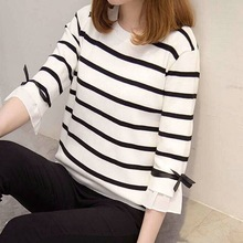 Autumn New Casual Women T-shirt Loose O-Neck Striped Pattern  Novel Flare Three Quarter Sleeve Womens