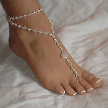 anklet Barefoot Sandals Bridal Beach Simulated-Pearl Foot Jewelry Anklet Chain Bracelet female beach accessories