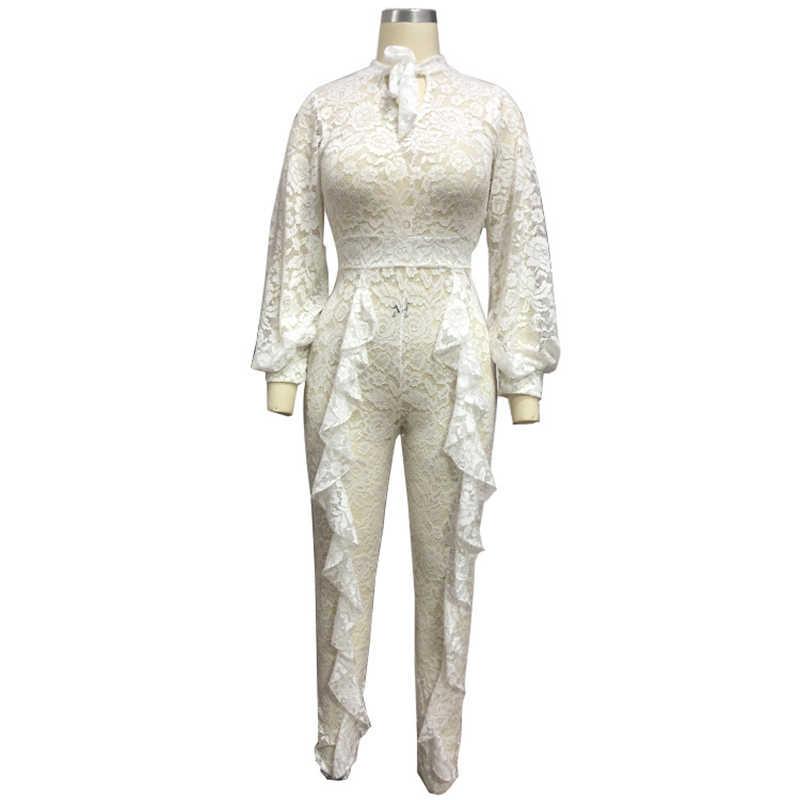 b34da2f751c ... Elegant Lace Jumpsuit 2018 Newest Lantern Long Sleeve Bodysuit Plus  Size Romper Women Celebrity Evening Party ...