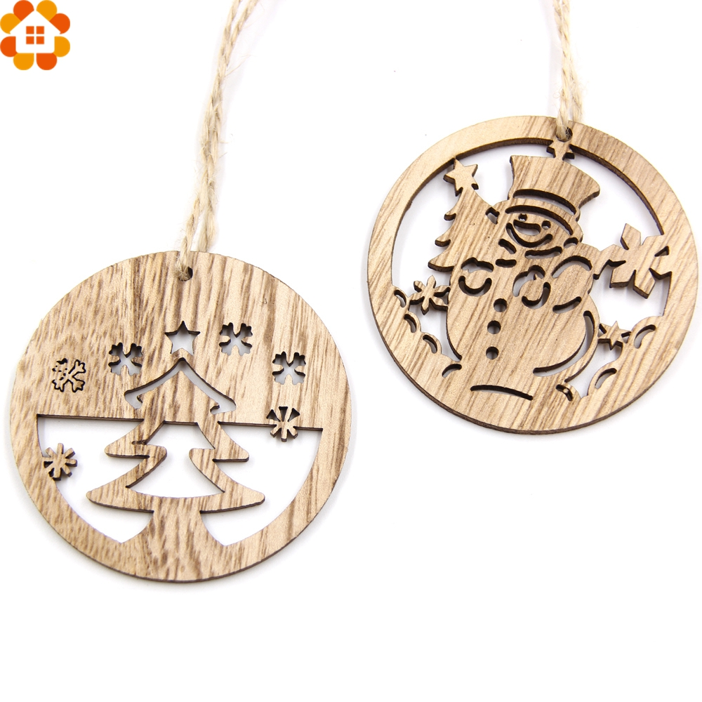 10PCS Christmas Snowman&Tree Wooden Pendants Ornaments DIY ...