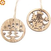 10PCS Christmas Snowman&Tree Wooden Pendants Ornaments DIY Wood Crafts Party Decorations Xmas Tree Kids Gift