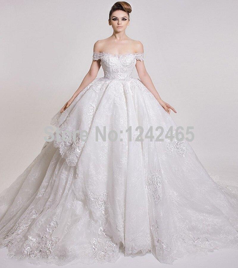 Fluffy off shoulder saudi arabia ball gown wedding dresses for Big beautiful wedding dresses