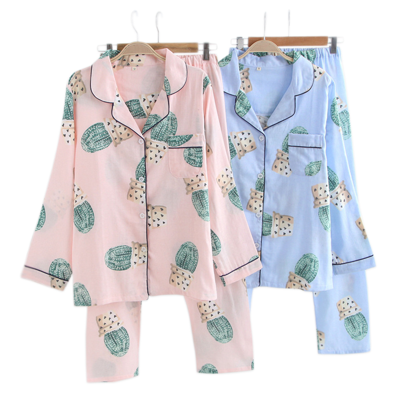 Fresh Cactus 100% cotton   pajama     sets   women spring long sleeve gauze cotton cozy pijama mujer casual women pyjamas