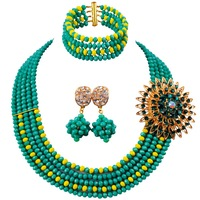 New Design Cyan Green Opaque Yellow Crystal Fashion Beads Neckalce Women Anniversary Jewellery Set 5C ST 08