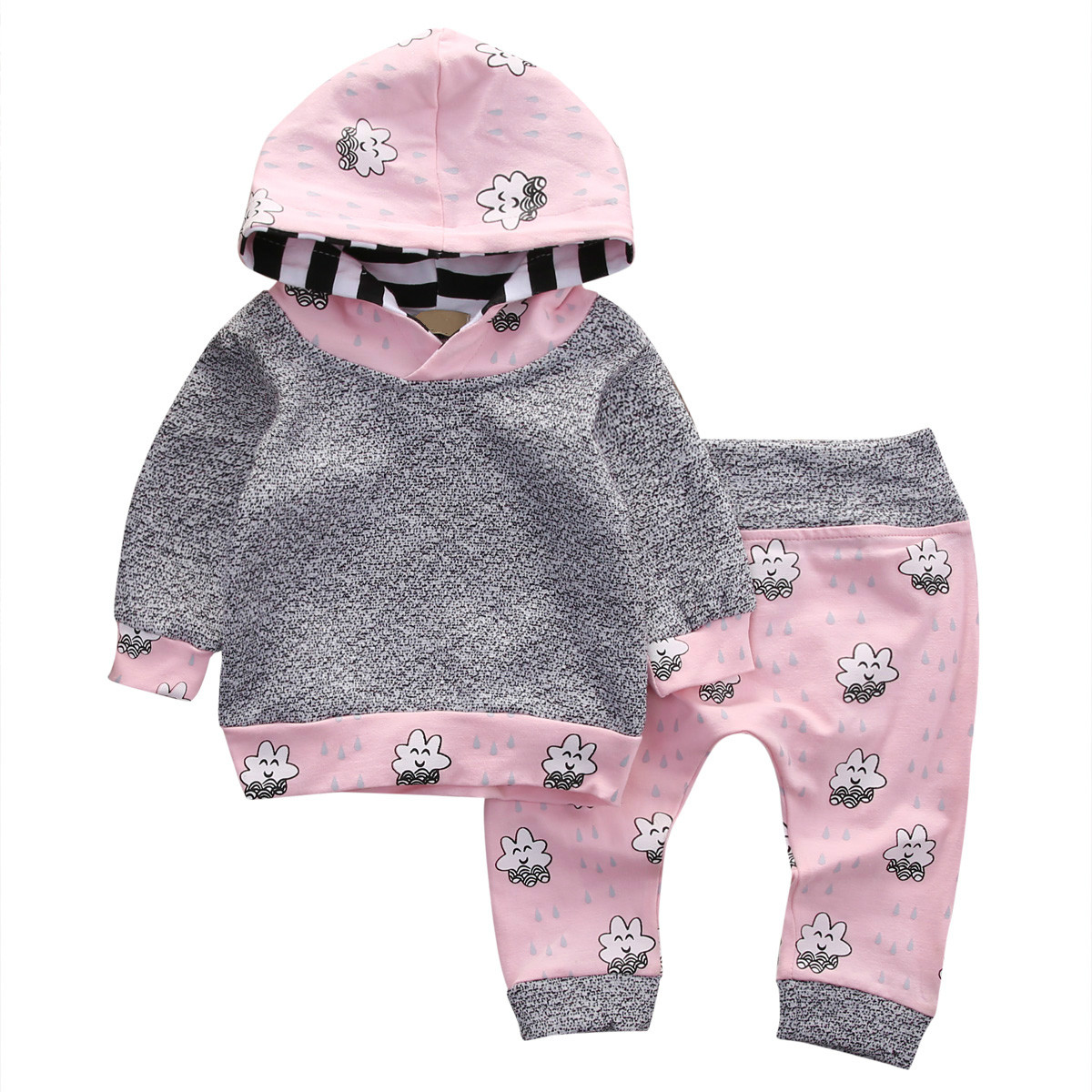 2018 New Lovely 2pcs Newborn Baby Boys Girls Cute Long Sleeve Hooded T-shirt Tops Hoodie Legging Pants 2Pcs Outfits Set 0-24M