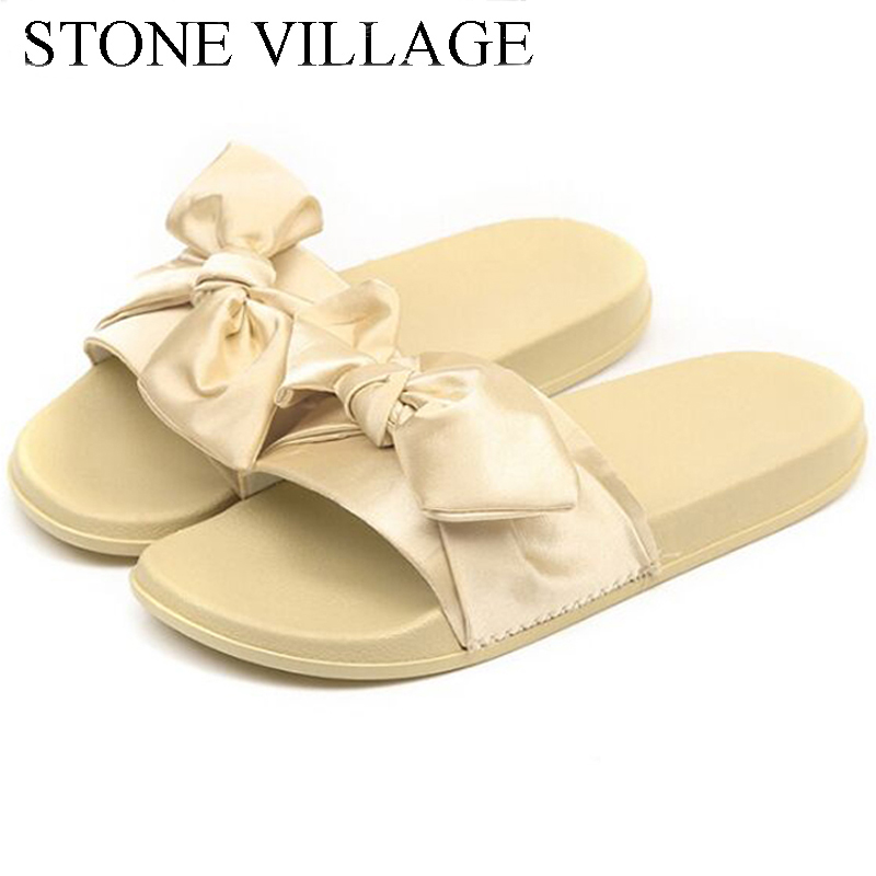 STONE VILLAGE Summer Butterfly-Knot Women Slippers Slip On Round Toe Flat Slides Sandals Women Outside Beach Slippers Size 36-41 zapatos mujer black red summer sweet bowtie flat sandals slip toe beach sandals butterfly knot flat sandals shoes plus size 44
