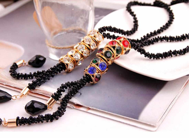 Best Handmade String Beads long Strand Necklace Tassel Pendant Cheap  babygirl necklace fashion nova