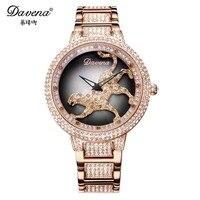 Женские часы Davena, модные часы с кристаллами, Леопардовый Браслет, пантера, роскошный бренд, стразы, подарок на день рождения