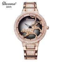 Davena леди Для женщин часы кристалл часы Мода часы поворот Леопард браслет Panther Элитный Бренд стразы подарок на день рождения