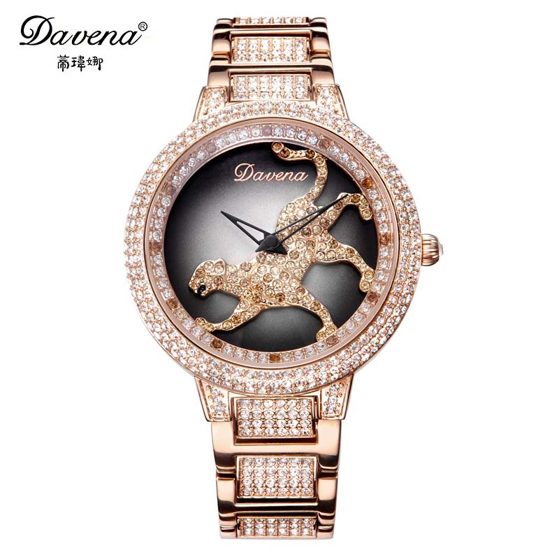 Davena Lady Women's Watch Crystal Hours Fashion Clock Rotate Leopard Bracelet Panther Luxury Brand Rhinestones Birthday Gift