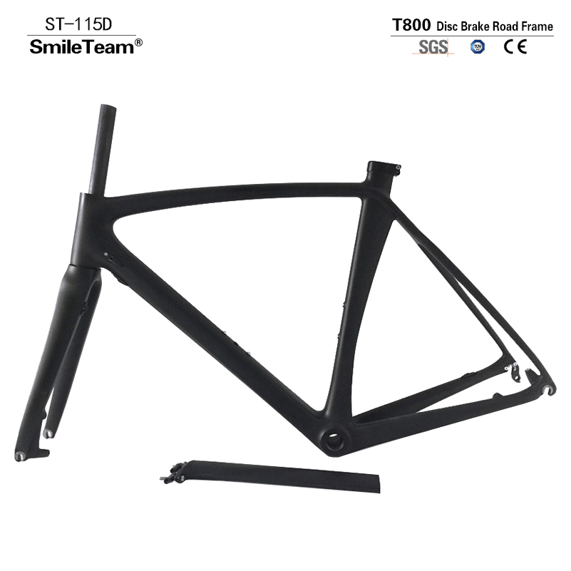 Smileteam 2018 New T800 Full Carbon Disc Brake Road Bike Frame Chinese Factory Cyclocross Carbon Frameset With Fork Seatpost 2018 tideace full carbon gravel frame 135mm 142mm di2 gravel bicycle frame cyclocross disc bike frame for road or mtb tires