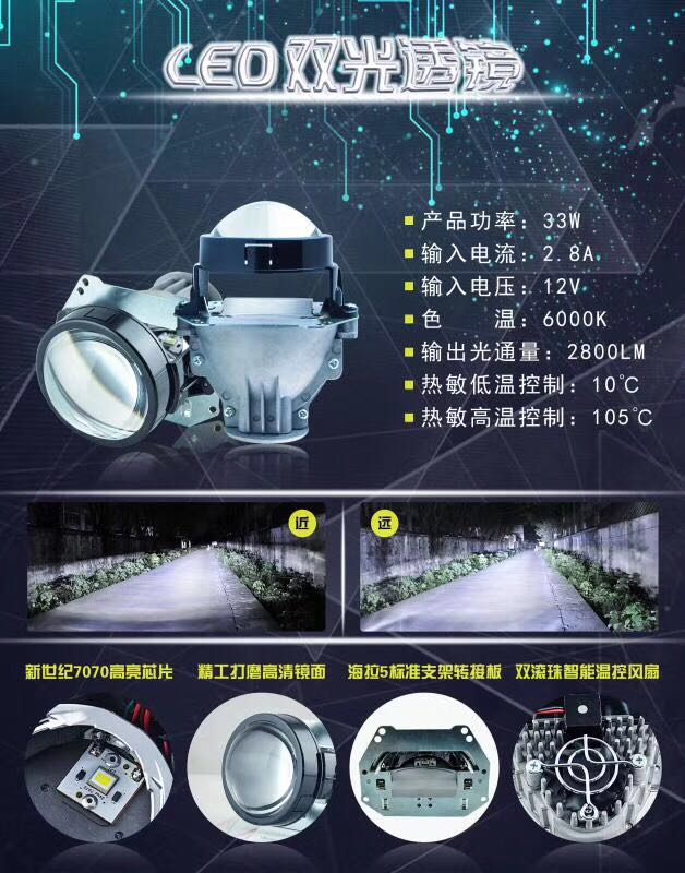 Car LED Headlight High Low Beam Car-styling Modification Bi LED Projector Lens Headlight