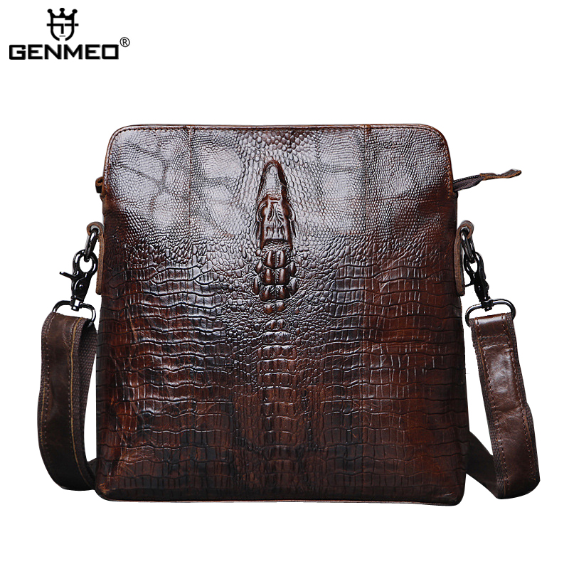 New Arrival Genuine Leather Men Business Briefcase Alligator Cow Leather Handbags Retro Messenger Bag Cowhide Shoulder Tote Bag цены