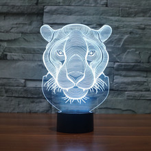 Lion Head Shape illusion 3D Lamp 7 Color Changing Animal Led Night Lights USB LED Desk Table Lamp as Home Decoration Gift