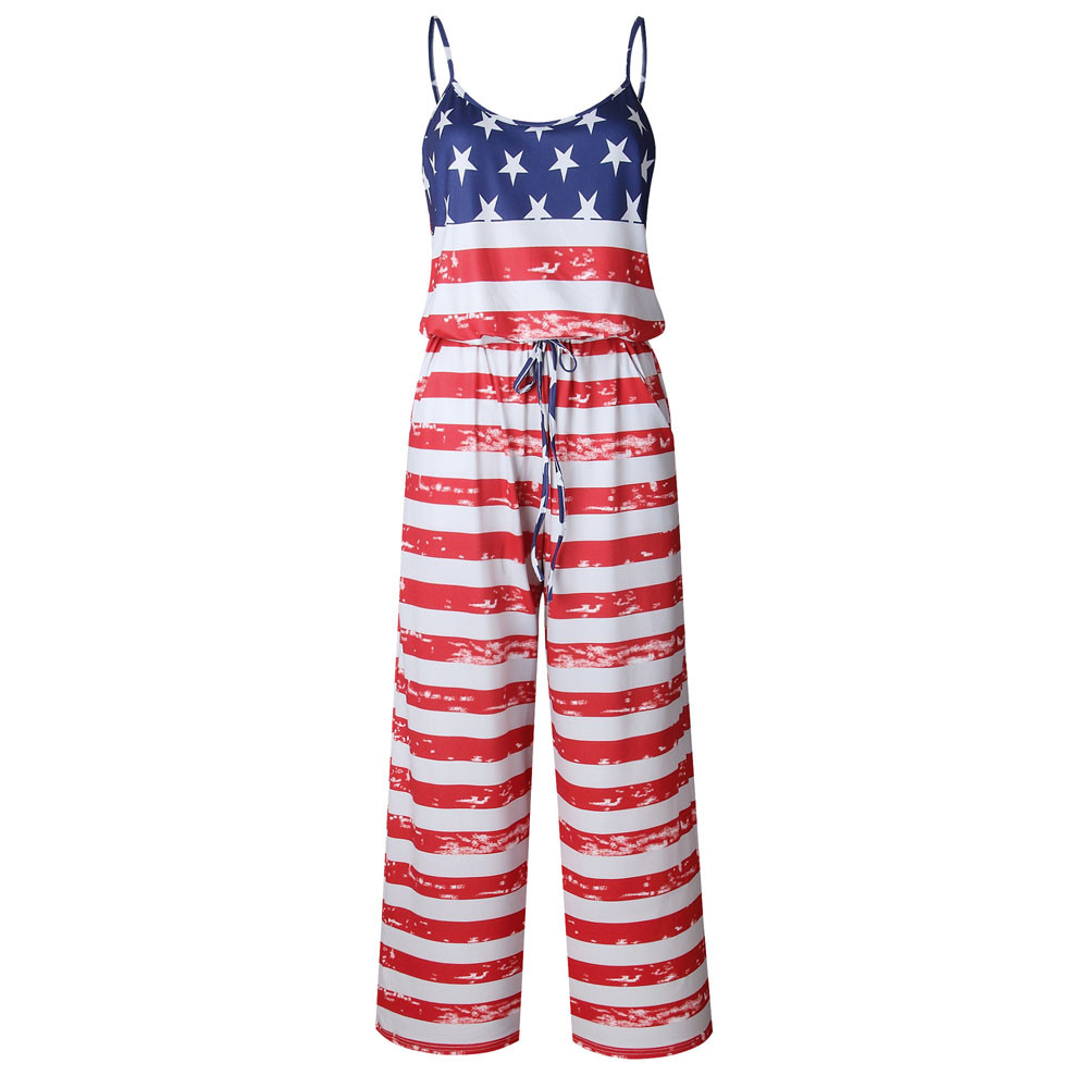 CHAMSGEND 2018 Summer Beach Rompers Womens Jumpsuit Casual Ladies American Flag Sleeveless Holiday Long Rompers