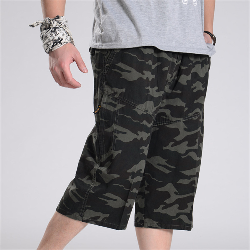 Xl-6Xl Men Summer Plus Size Short Loose Elastic Waist Cotton Short-Pants Man Army Green Camuflage Summer Cargo Shorts A3368