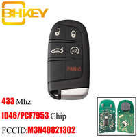 BHKEY 5 Button Smart Remote Key For Chrysler M3N 40821302 433Mhz For Chrysler Dodge Charger Journey Challenger Durango 300 keys