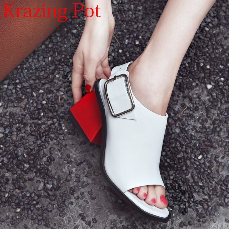 2019 Superstar Genuine Leather Peep Toe Ankle Strap Square Heel Women Sandals High Heels Slingback Mixed