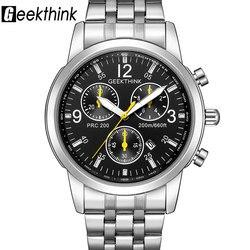 GEEKTHINK Clássico Top Marca Relógios de Quartzo dos homens Alça aço Inoxidável Moda Luxo Clássico Relógio Masculino Relogio masculino Novo