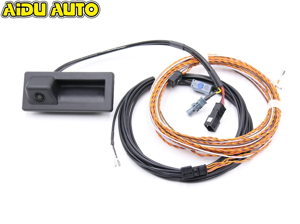 Rear View Trunk handle Camera with Highline Guidance Line Wiring harness For Audi NEW A4 A5