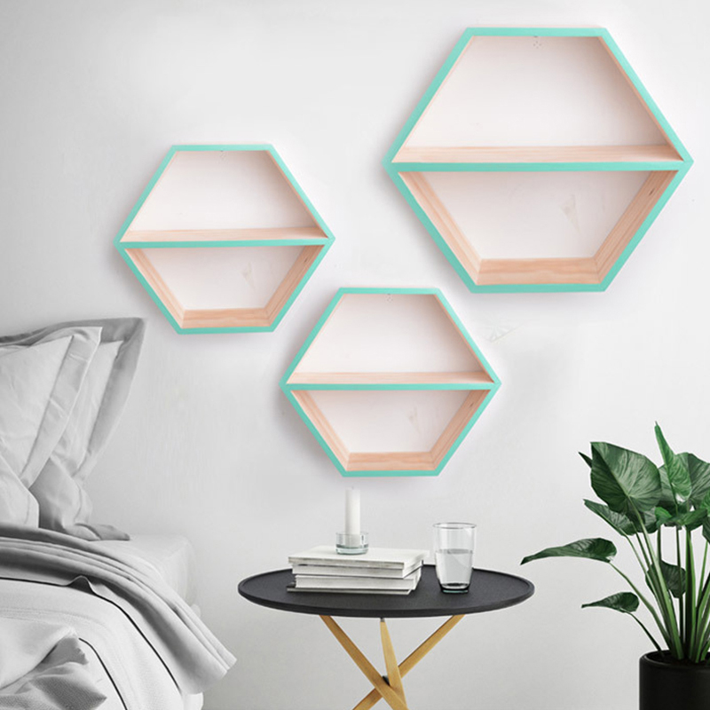 Ins Nordic Style Wooden Shelf Honeycomb Hexagon Storage Holder Wall Shelves For Nursery Kids