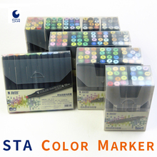 STA 12/24/36/48/60/128 Color Art Markers Oily Alcohol Based Dual Headed Brush Pen Sketching Copic For Drawing