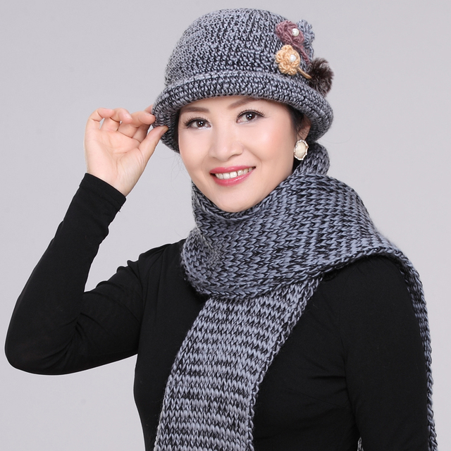 Elder Winter Warm Hat Scarf Mother Autumn and Winter Basin Rabbit Hat Female Woven Wool Cap Lady Rabbit Hair Cap Scarf  B-4580
