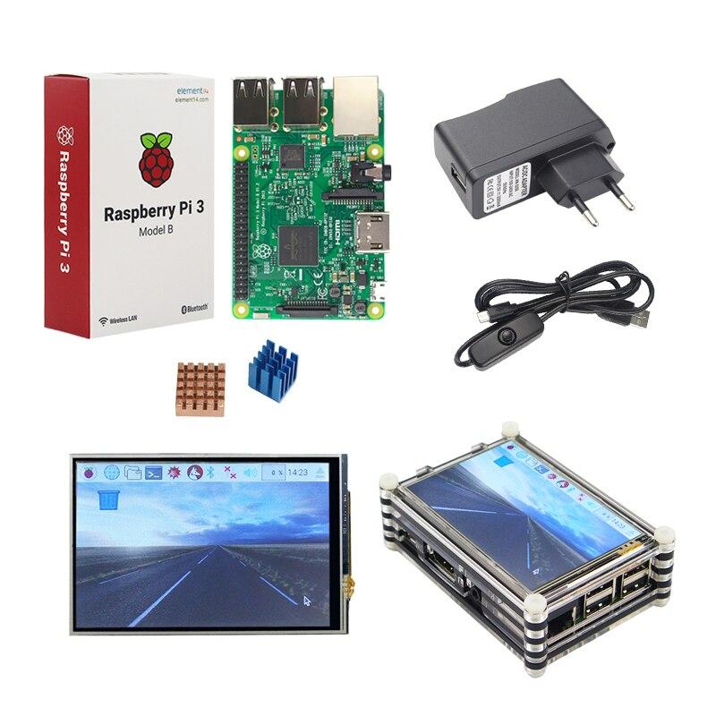 Raspberry Pi 3 Starter Kit оригинальной Raspberry Pi 3 + 3,5 дюймовый сенсорный экран + 9 слой акрилового чехол + 2.5A Мощность Plug + теплоотвод