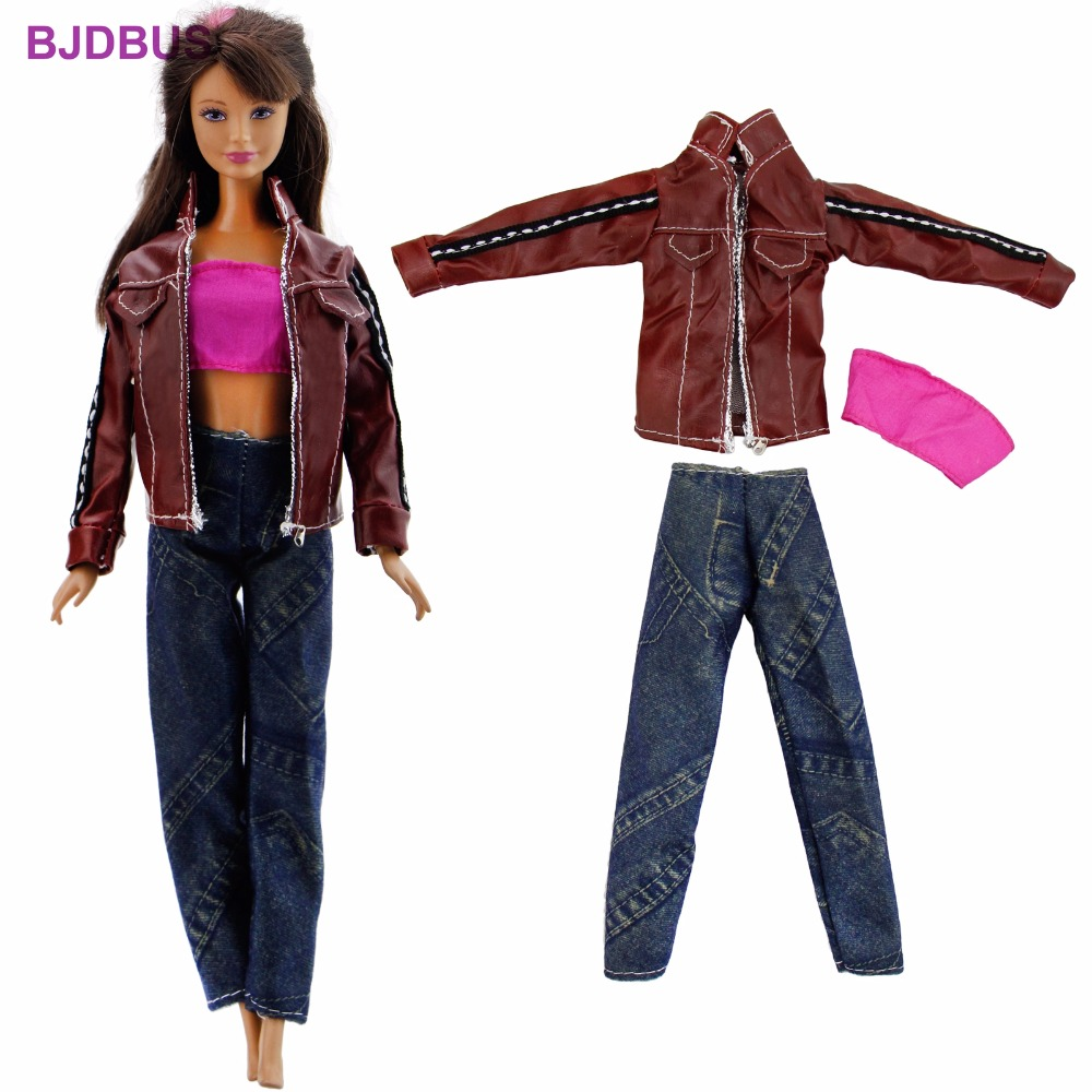 3 In 1 Fashion Outfit Daily Wear Cool Jacket Coat + Jeans Trousers Pants + Sexy Top Clothes For Barbie Doll Accessories Gift Toy 30 new styles festival gifts top trousers lifestyle suit casual clothes trousers for barbie doll 1 6 bbi00636