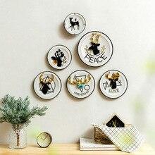 Placa decorativa de resina criativo sala de estar quarto corredor parede pendurado alces pintura placa decorativa artesanato enfeites-60140