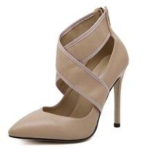 Fashion High Heels Women Pointed Toe High Heel Pumps Party Shoes Woman stiletto cross-belt fastener Asakuchi heels