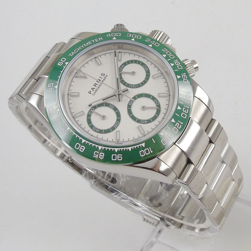 New Arrive 39mm PARNIS White Dial Green Bezel Chronograph Sapphire Glass Quartz Movement men 39 s Watch in Quartz Watches from Watches