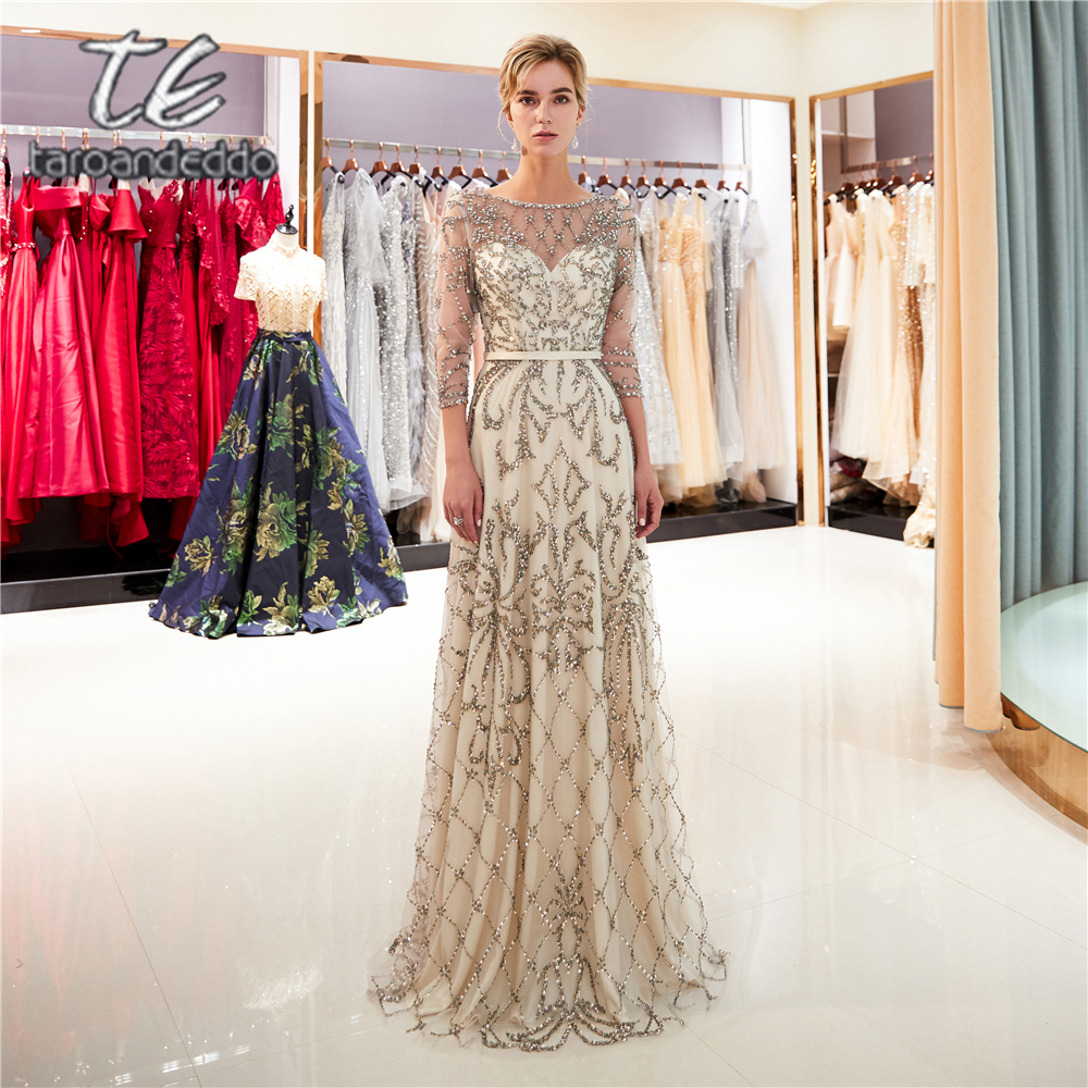 Vestido De Festa Scoop A Line   Prom     Dresses   Quarter Sleeves Illusion Back Floor Length Evening Formal Party   Dress
