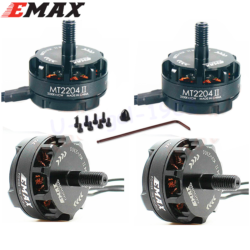 4 x Emax MT2204 II 2300KV Cooling Brushless Motor 2-4S for Mini Quadcopter QAV250 QAV250 TL250H TL280C emax mt1806 kv2280 brushless motor for qav250