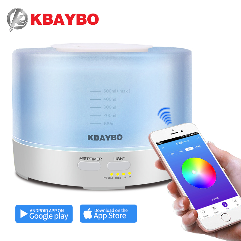 KBAYBO 500ml Aroma Diffuser with APP Remote Control Aroma Air Humidifier 7 Color LED Light Electric Aromatherapy cool mist makerKBAYBO 500ml Aroma Diffuser with APP Remote Control Aroma Air Humidifier 7 Color LED Light Electric Aromatherapy cool mist maker
