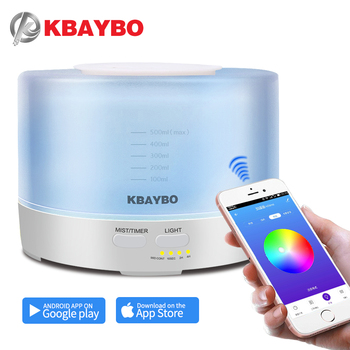 KBAYBO 500ml Aroma Essential Oil Diffuser Electric Aromatherapy cool mist maker with 7 Color LED Light and APP Remote Control