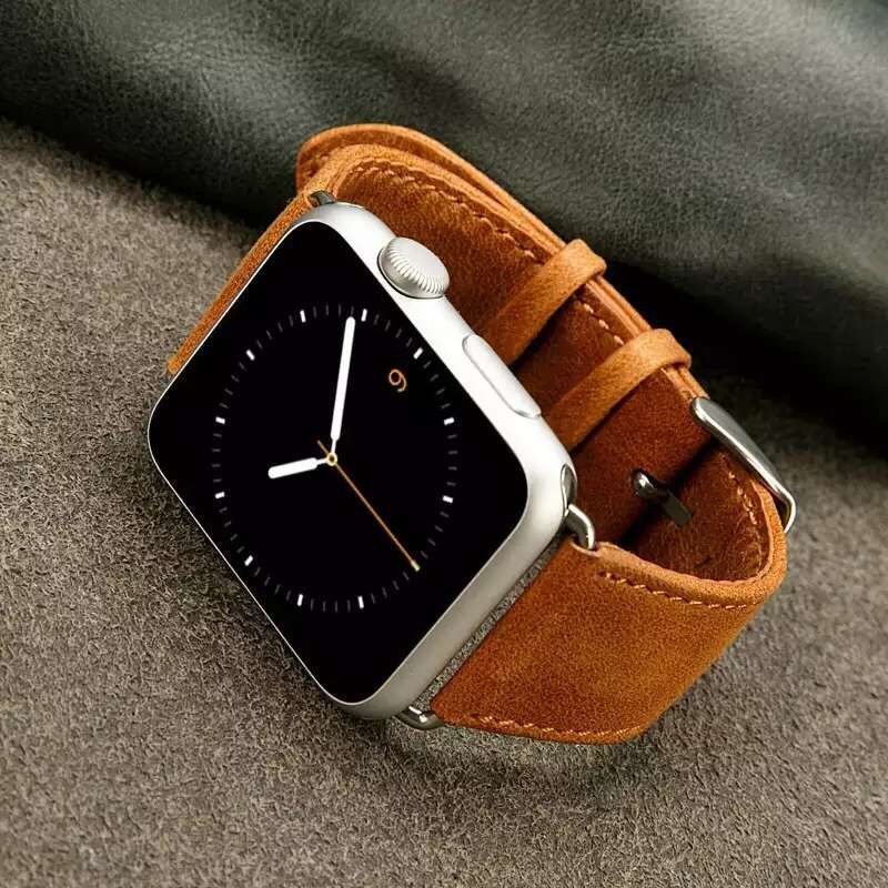 Series 4/3/2/1 band for apple watch strap genuine crazy horse leather band wristband for iwatch bracelet 38mm 40mm 44mm classical genuine crazy horse brown leather watch band for apple watch i watch 38mm