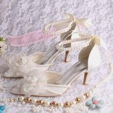 Топ Продаж С Острым Носом Ткани Цветок Свадебная Обувь Мода Онлайн с Жемчугом