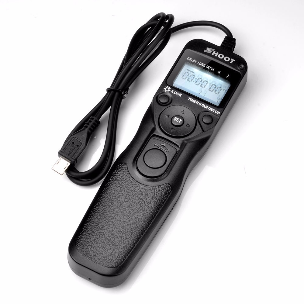 лучшая цена SHOOT Selfie LCD Timer Remote Control Shutter Release Cable For Sony Alpha A7 A7R A3000 A6000 A58 A7R II A7II NEX-3N RX100 III
