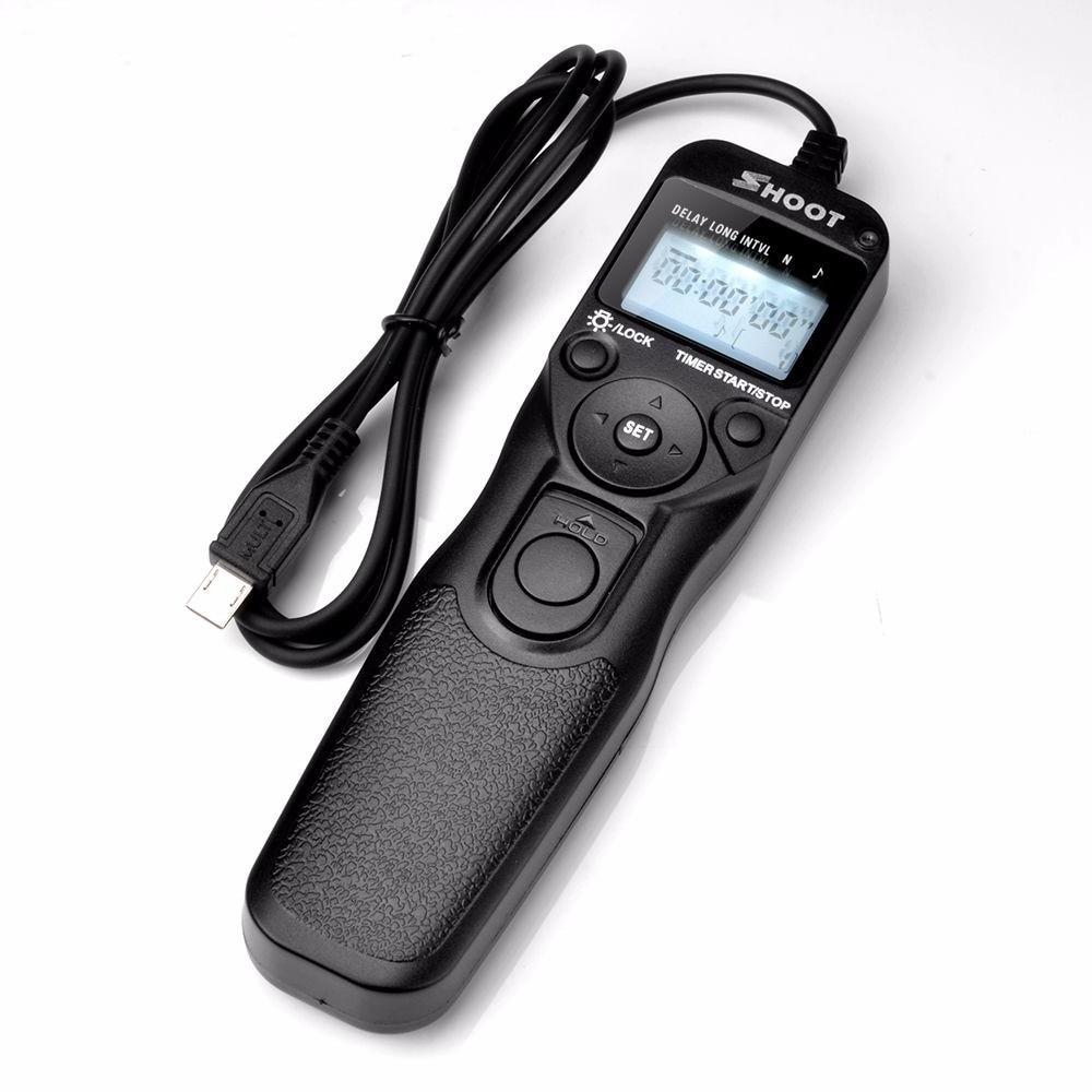 SHOOT Selfie LCD Timer Remote Control Shutter Release Cable For Sony Alpha A7 A7R A3000 A6000 A58 A7R II A7II NEX-3N RX100 III jjc camera wired timer remote control shutter release cord for sony a7iii a6500 a6300 a6000 a7r ii rx100iv hx90 hx90v rx1r ii