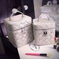 New Women Plaid PU Leather Cosmetic Bag Fashion Diamond Stereotypes Vanity Case Female Travel Wash Makeup Storage Box