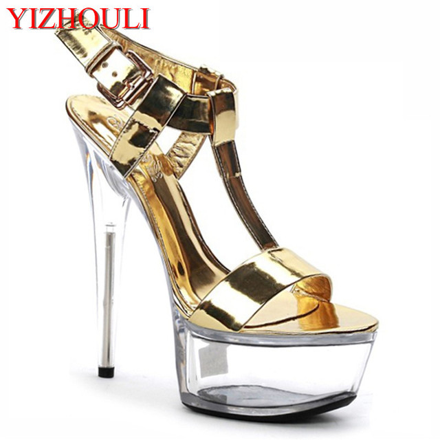 New Golden/Black Crystal Glitter Sandals 15 cm Ultra High Heels Platform Dance Shoes Small Yards Gorgeous 6 Inch Crystal Shoes