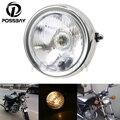 POSSBAY Ретро Хром Мотоцикл Лампа Головного Света Высота/Ближнего света Янтарный Свет Лампы Кастом Байк Для Suzuki GN 125 Harley Honda Yamaha