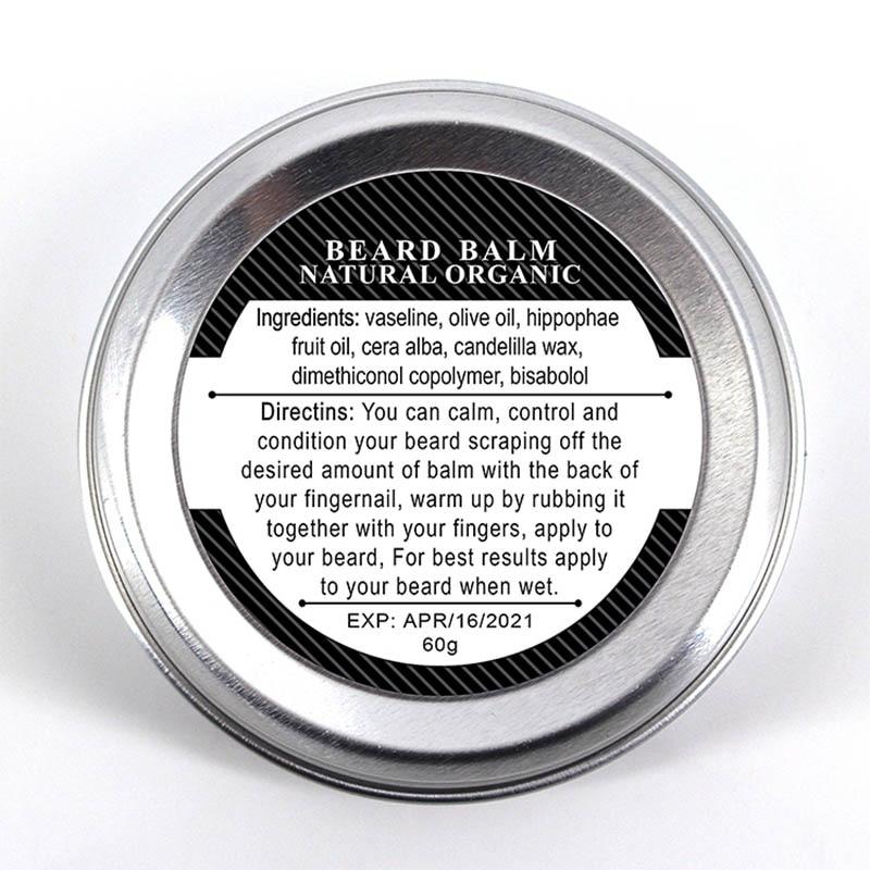 Men Organic Beard Oil Balm Moustache Wax Styling Beeswax Moisturizing Smoothing Gentlemen Beard Care 60g Natural Men Beard Balm 3