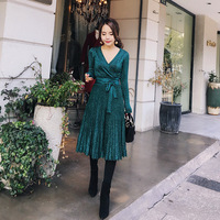 High Quality Elegant Autumn Knitting Dress Office Dresses For Women Decorative Sashes V Neck Solid Plus