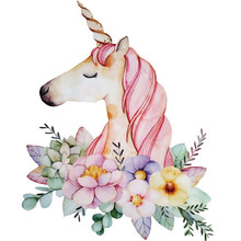 Unicorn Patches T-shirt Press Heat Transfer Sticker A-level Washable Iron On Appliques For T-shirt Dresses Decoration(China)