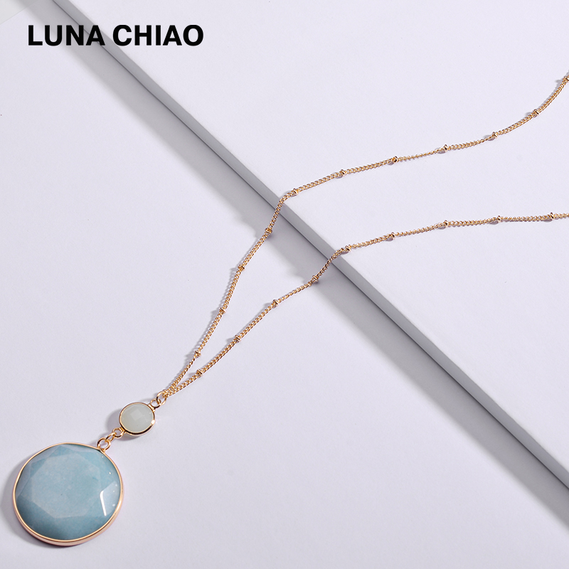 LUNA CHIAO New Arrival Round Disc Natural Amazonite Labradorite Stone Pendant Necklaces for Women luna chiao fashion ins popular round natural stone fan fringed cotton tassel necklaces pendants for women