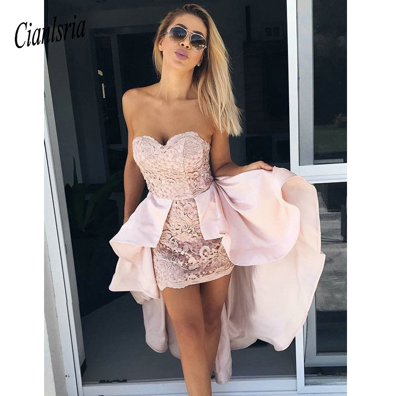 Sheath Pink Cooktail Dresses Lace Strapless Homecoming Dresses With Detachable Train